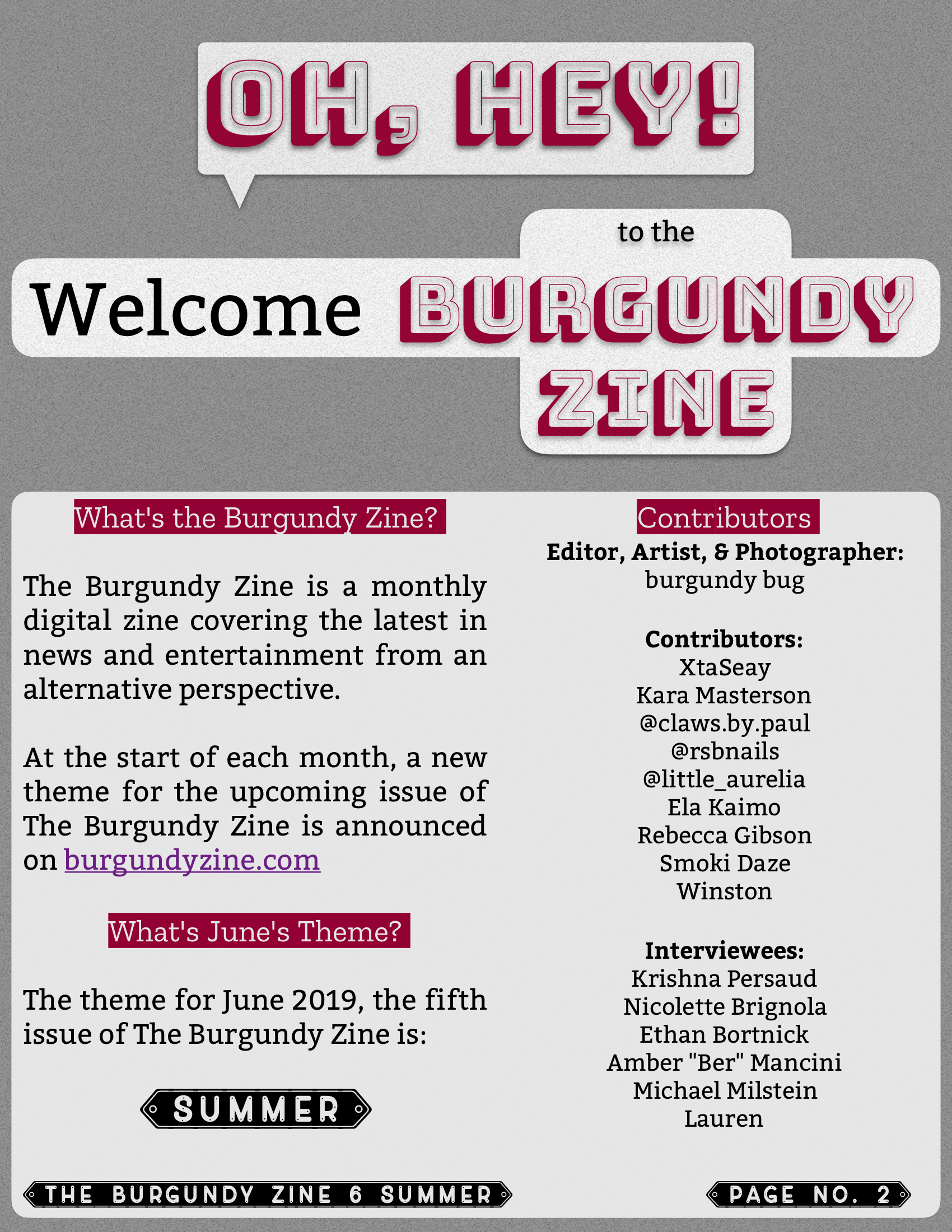 The Burgundy Zine #6: Summer Pg. 02